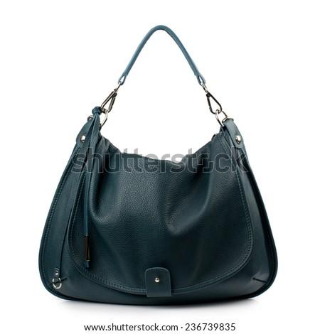 Dark green female bag isolated on white background. - stock photo