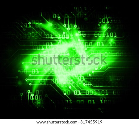 Dark green Light Abstract Technology background for computer graphic website internet business.circuit.illustration. infographics.motion move blur.neon. pixel. Binary digit. rotate, spiral,whorl,braid - stock photo