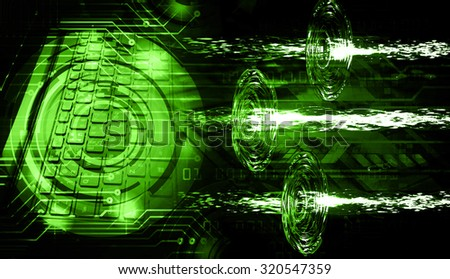 Dark green Light Abstract Technology background for computer graphic website internet business. illustration. infographics. motion move blur.neon.high tech keyboard with binary number, Button, PC - stock photo
