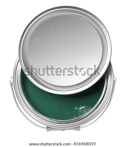 Dark green paint can and cover, isolated on white background