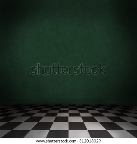 Dark green room with black and white checker on the floor. Empty background interior. - stock photo