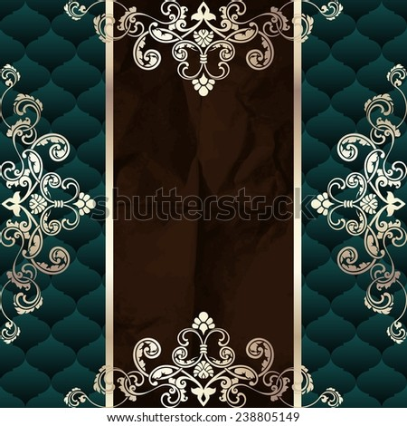 Dark green vintage banner with metallic ornaments (jpg);  eps10 version also available - stock photo