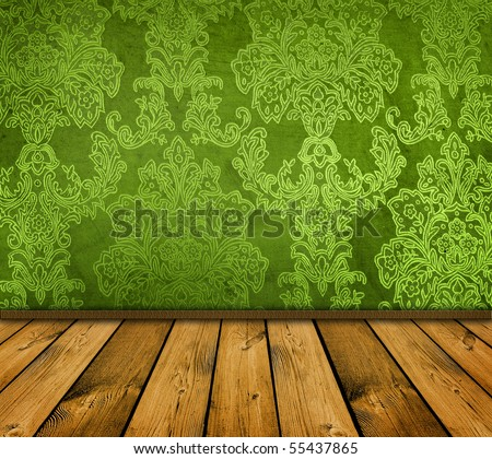 dark green vintage room with wooden floor - stock photo