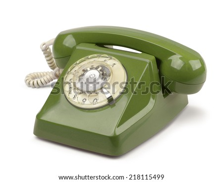 Dark green vintage telephone isolated on white - stock photo