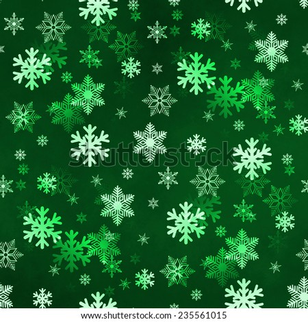 Dark green winter Christmas snowflakes with a seamless pattern as background image. - stock photo