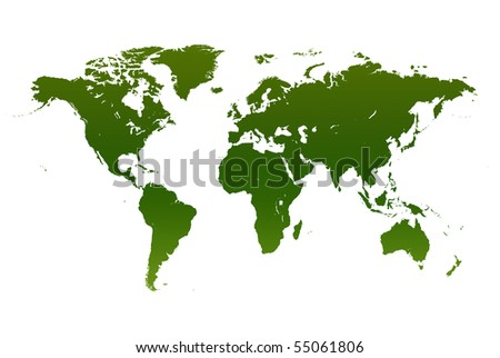 Dark green world map