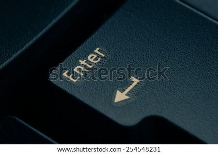dark grey keyboard empty black enter button - stock photo