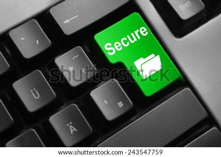 dark grey keyboard green button secure folder - stock photo