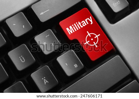 dark grey keyboard red button military crosshair - stock photo