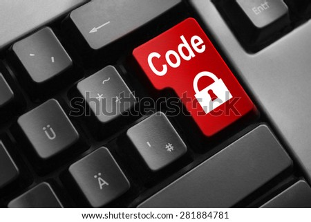 dark grey keyboard red enter button code lock symbol - stock photo