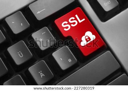 dark grey keyboard red enter button ssl lock cloud symbol - stock photo