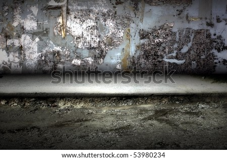 Dark Grunge street. Digital background for studio photographers. - stock photo
