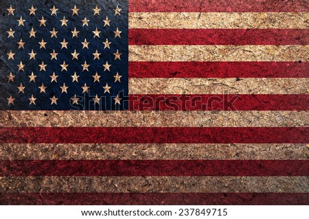 Dark grungy and textured US-Flag - stock photo