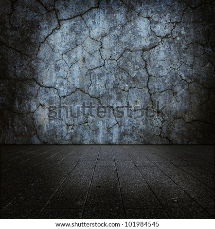 Dark grungy stone room - stock photo