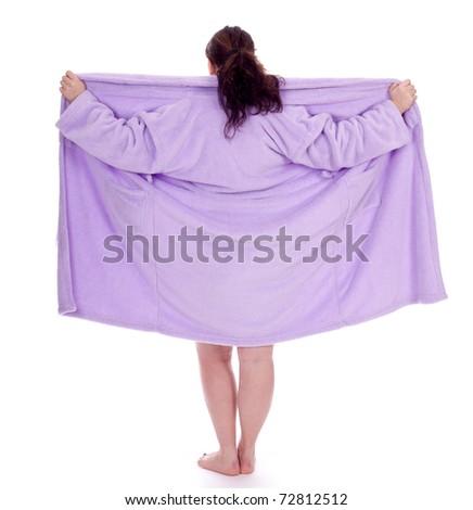 dark hair overweight, fat woman in bathrobe - stock photo