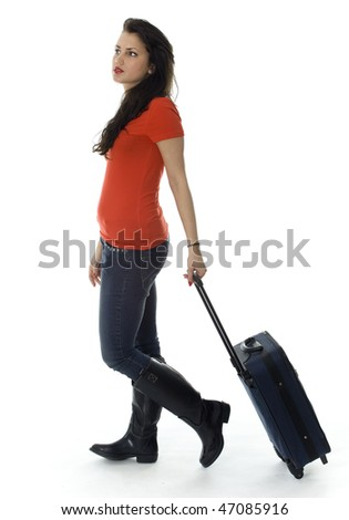 dark hair young woman with suitcase, white background