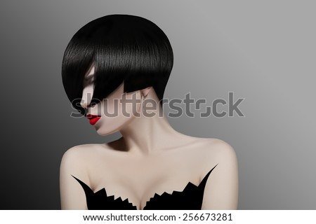 dark-haired girl with short hair - stock photo
