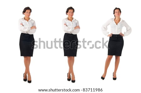 Dark haired white blouse and black skirt dressed  young business woman isolated on white background. Three poses - stock photo