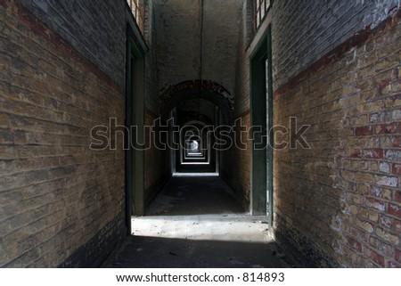 dark hall - stock photo