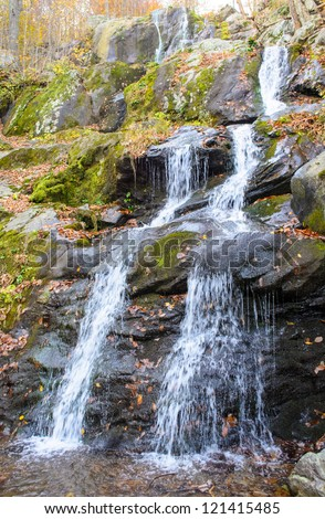 Dark Hallow Falls in Shenandoah National Park during autumn - stock photo