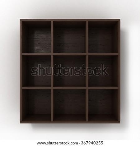 dark hanging bookshelf isolated on white background - stock photo