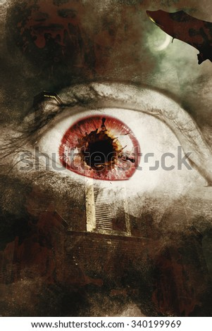 Dark horror photo on a fear splattered eye overlaid on scary asylum background. When souls escape - stock photo