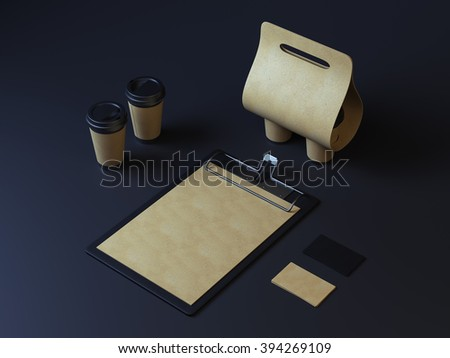 Dark identity mockup for restaurant. Cup holder with clipboard and cards - stock photo