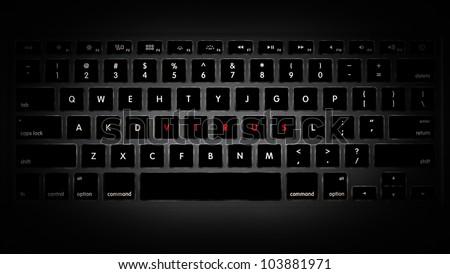 Dark image of computer keyboard with keys rearranged to make up word virus. - stock photo