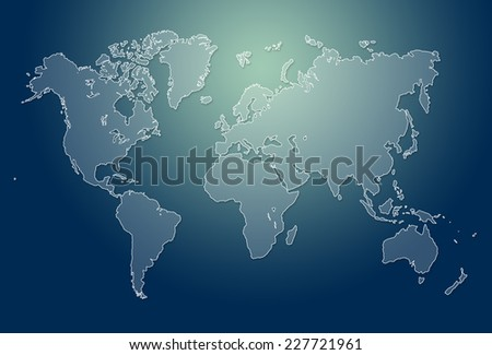 Dark image of modern world map illustration - stock photo