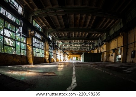 Dark industrial interior - stock photo