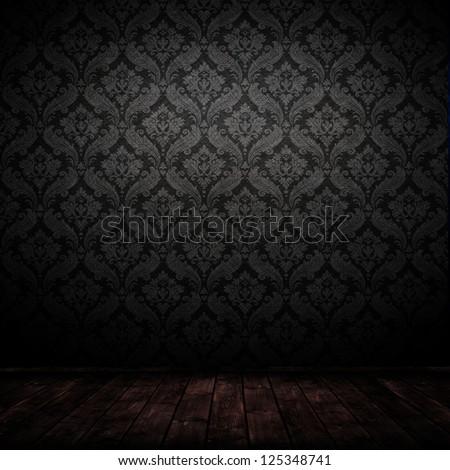 Dark interior room baroque wallpaper stock photo 125348741 for Black room wallpaper