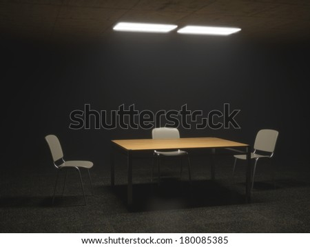 Dark Interrogation Room with Chairs and Table a disturbing Situation - stock photo