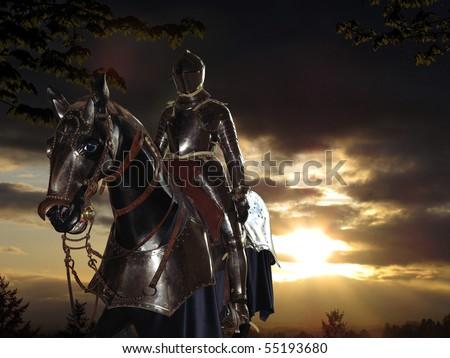 Dark Knight and sunset - stock photo