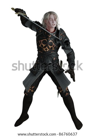 Dark knight wearing black armour with sword, 3d digitally rendered illustration - stock photo
