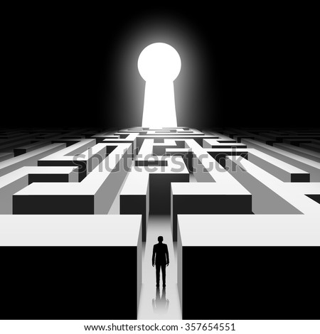 Dark labyrinth. Silhouette of man. Stock illustration. - stock photo
