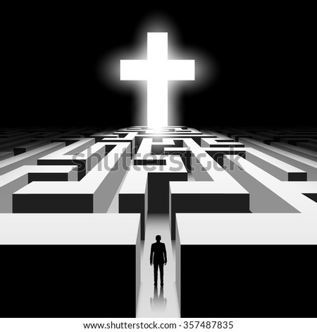 Dark labyrinth. Silhouette of man. White Cross. Stock illustration. - stock photo