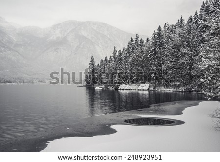 Dark Lake Reflection. Winter Fairytale at Bohinj Lake in Slovenia. Mystical landscape on a winter day with heavy snow. Cottages reflection in the Snow. - stock photo