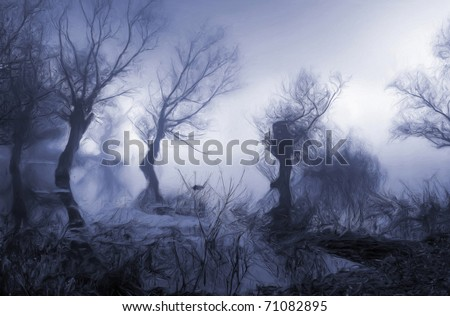 Dark landscape painting showing trees in the misty swamp.
