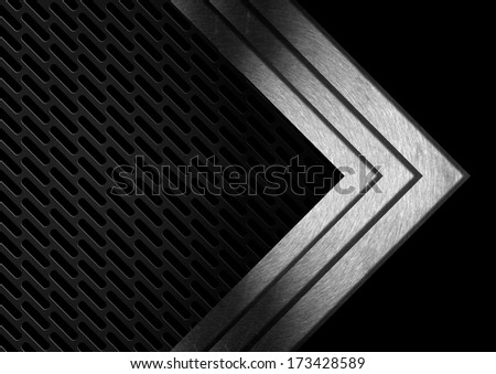 Dark Metal Abstract Background with Arrows / Abstract background with dark black metallic grid and three metal arrows - stock photo