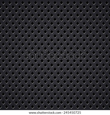 Dark metal diamond perforated grill texture. - stock photo