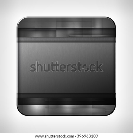 Dark metal texture icon (button) on neutral background, template for applications (app), web user interfaces, internet sites and business presentations.