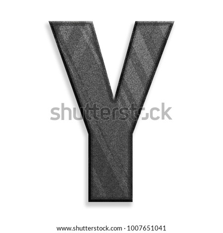 Dark modern black & gray stripes uppercase or capital letter Y in a 3D illustration with a rough texture gray surface and bold font style isolated on a white background with clipping path.