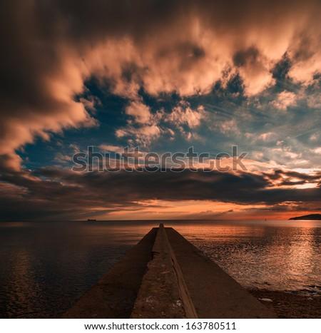 Dark morning, Crimea, Ukraine - stock photo