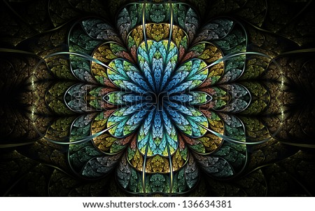 Dark nature themed fractal flower, digital artwork for creative graphic design - stock photo