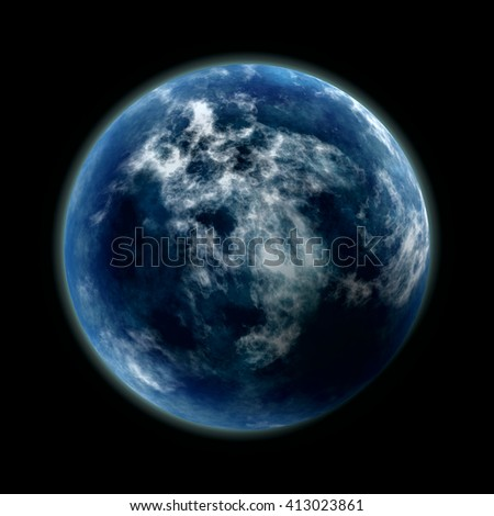 Dark night and earth planet, close up view, 3D rendering, digital illustration art work.