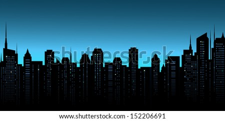 dark night city background with business office and many skyscrapers