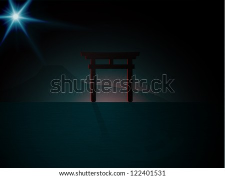 Dark night silhouette of japan Torii gate - stock photo