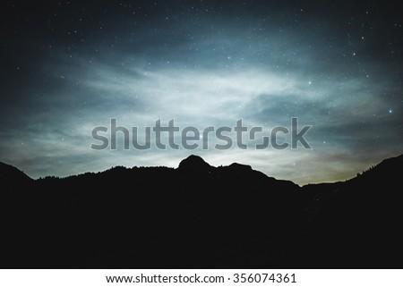 Dark night sky with many stars. Space background - stock photo