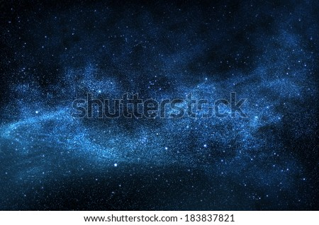 Dark night sky with sparkling stars and planets,illustration - stock photo