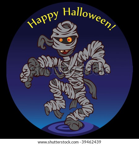 dark night, we have a looming mummy, her rags fluttering in the wind. Happy Halloween. - stock photo